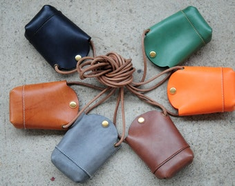 Hand Stitched Leather phone Case/ Small Pouch