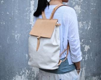 Artemis Leatherware Handmade Leather And Canvas Backpack