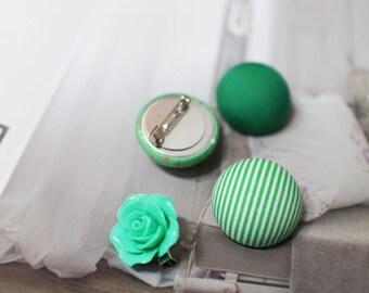 unique button brooch (green)