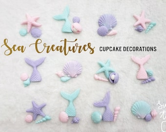 36 edible Under the Sea creatures cupcake topper kit, girl Birthday, Little Mermaid, Under the sea cake decoration, FREE SHIPPING