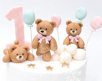"3 mini 2"" edible 3D Bear cake decoration fondant topper, Woodland Animal, Birthday Cake Topper, girl boy birthday, teddy bear, baby shower"