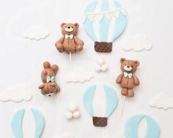 1 set Up Up and Away cake toppers, baby shower, Girl Boy Birthday, teddy bear edible toppers, edible cake decorations, first birthday
