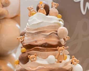 6 bear heads cake cupcake decoration fondant topper, Birthday Cake Topper, girl boy birthday, baby shower