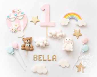 Sky Fantasy cake decoration fondant topper, Bunny, Bear, Clouds, Hot Air Balloons, Rainbow, Stars, Custom number, Birthday Cake Topper