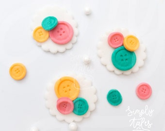 36 edible Cute as a Button cake cupcake decoration fondant topper, Lala Loopsy, Birthday Cake Topper, girl boy birthday, baby shower, sewing