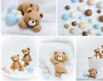 4 mini edible 3D Bear cake decoration fondant topper with bubbles balls, Birthday Cake Topper, girl boy Birthday, Baby Shower, Gender Reveal