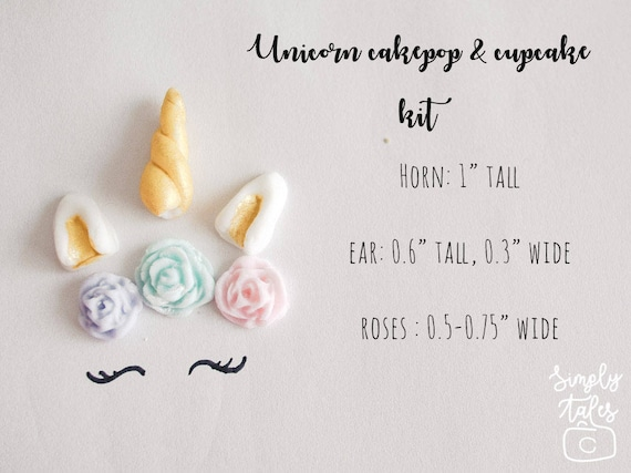 12 Unicorn Narwhal Fondant Cake Pop Kit With Roses And Horns Etsy