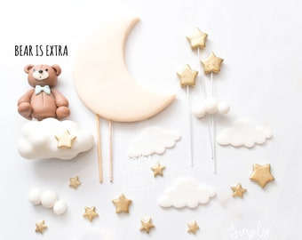 1 set Moon and Cloud cake toppers, baby shower, Girl Boy Birthday, Stars cupcake toppers, Twinkle Twinkle Little Stars, edible decorations
