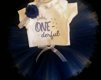 SALE!  Little girls first Birthday outfit: tutu, headband and onesie. Navy blue white and silver. Glitter  and sparkle. ONE - DERFUL