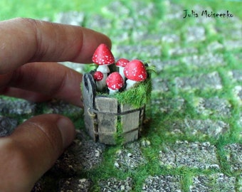 Made to order Amanitas in a wooden bucket 1/12TH scale Fairy/Gnome/Witch fantasy magical