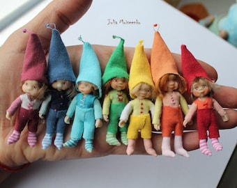 Made to Order Rainbow Small Gnome Boy Dollhouse 1:24 half scale tiny doll POSEABLE Polymer clay artist made