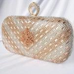 Rose Gold, crystal front, crystal Wedding Bag, Clutch Formal Evening Bag with Crystal Accent fashion bag