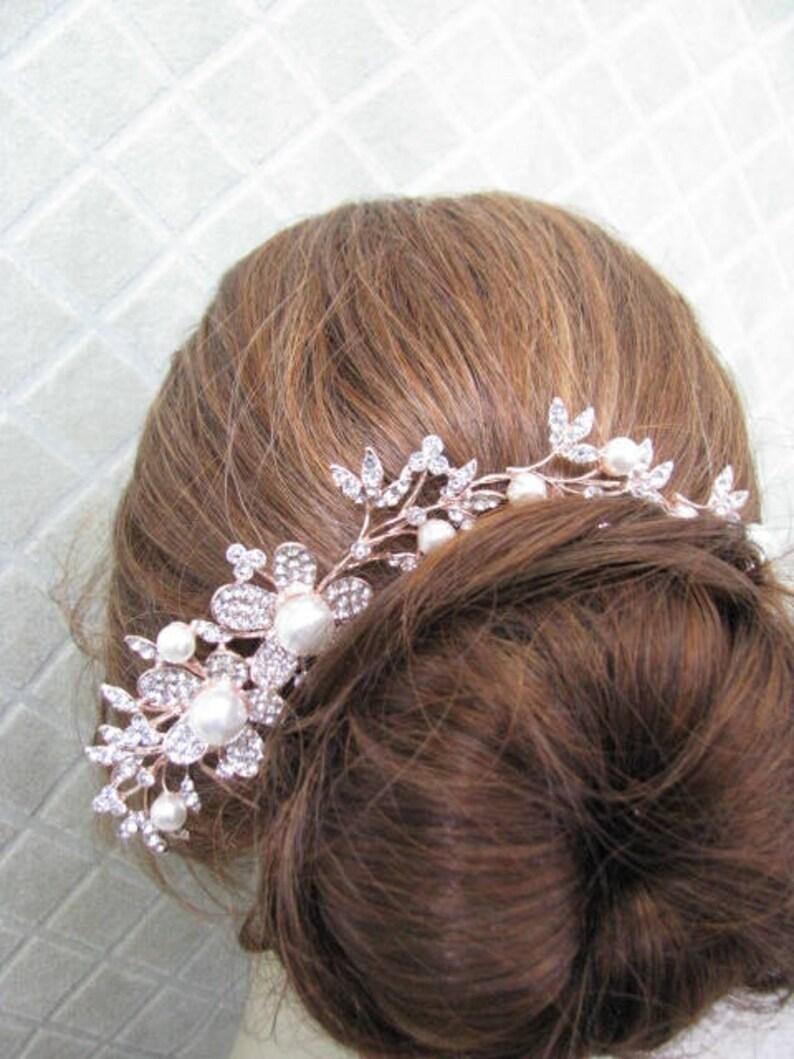 rhinestone haircomb crystal hair comb headpiece Pearl Accented Rhinestone Pave Flower Hair Comb Hair Accessories wedding hair comb