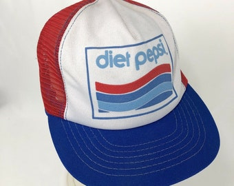 ac9777d80dc Vintage Diet Pepsi Snapback Hat Pinwheel USA Red Blue Mesh Foam Trucker Ball  Cap