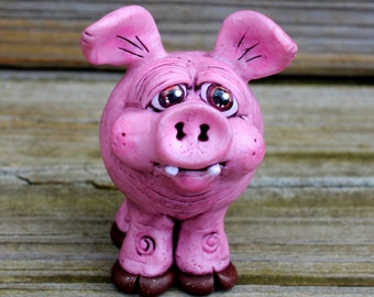 Pink Pig Polymer Clay Sculpture
