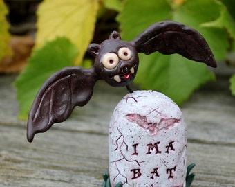 Bat Halloween Graveyard Polymer Clay Sculpture