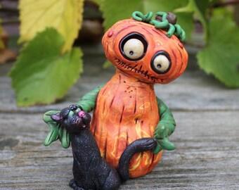 Pumpkin Cat Halloween Polymer Clay Sculpture