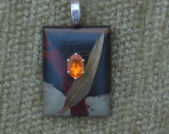 Painted jasper,feather and genuine fire opal pendant with sterling silver chain