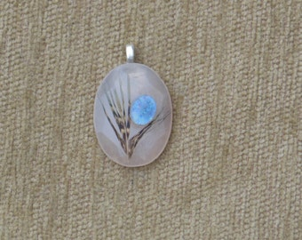 Rose Quartz, feather and precious opal pendant with sterling silver chain
