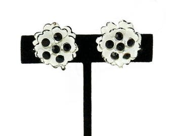 Vintage Rhinestone Earrings Black and White Flower