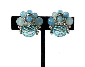 Vintage 1950s Blue Rhinestone Earrings by Vendome