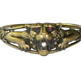 Antique Victorian Lion Bangle Bracelet