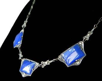 Antique 1920s Sterling Silver Art Deco Necklace