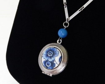 Vintage Enameled Locket Pendant Necklace by Park Lane