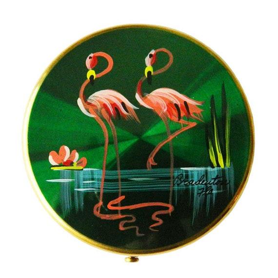 Vintage 1950's Flamingo Compact Florida Souvenir