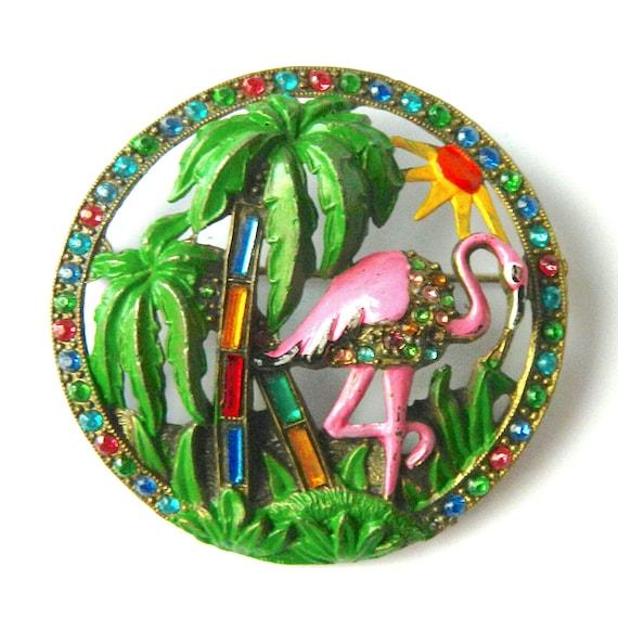 Vintage Enameled Flamingo Brooch
