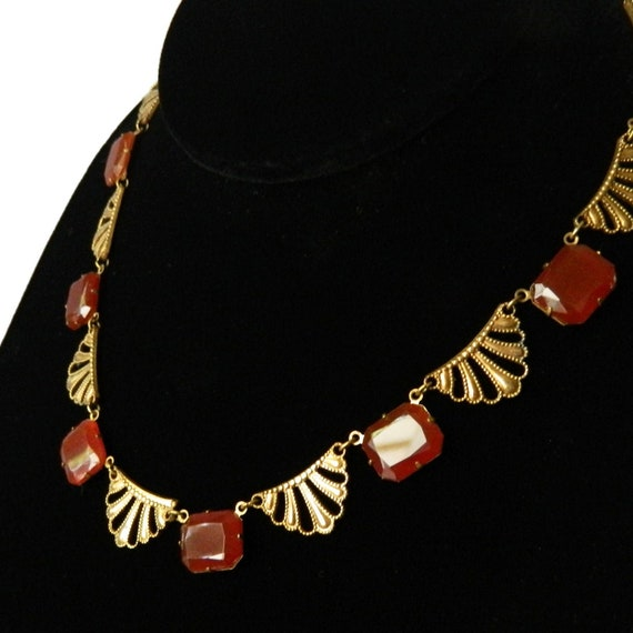 Molded Carnelian Glass Floral Graduated Black and Orange Enameled Star Celestial Beaded Choker Necklace 14 Inches Vintage 1920s Art Deco