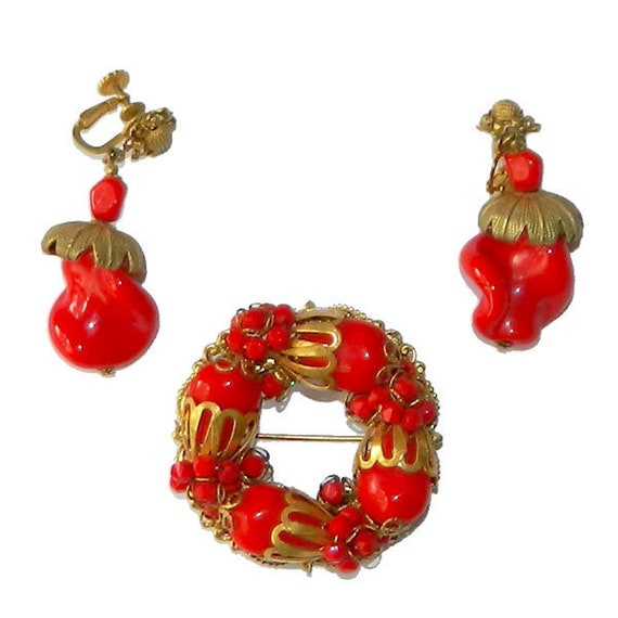Vintage 1950s Miriam Haskell Brooch and Earring Se