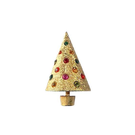 Vintage Corocraft Christmas Tree Rhinestone Brooch