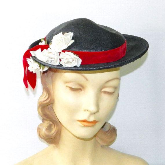 Vintage 1950s Navy Blue Straw Hat - image 3