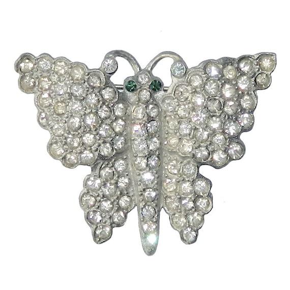 Vintage 1930s Rhinestone Butterfly Brooch
