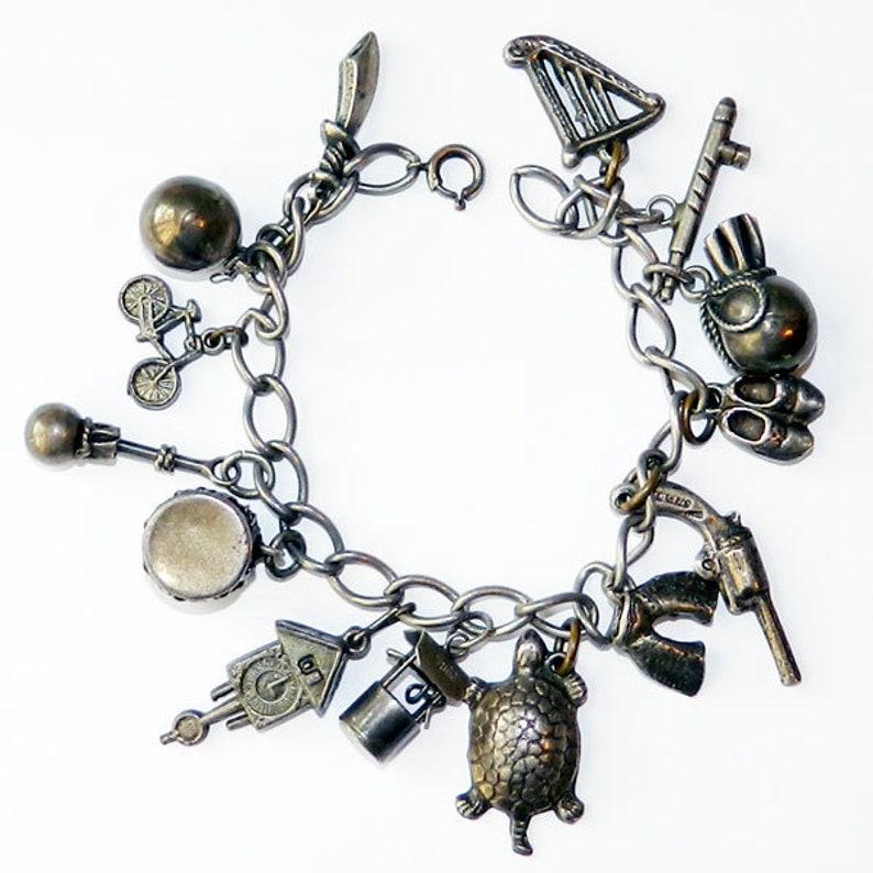91e04de44c26 Vintage 1930 s Sterling Silver Charm Bracelet