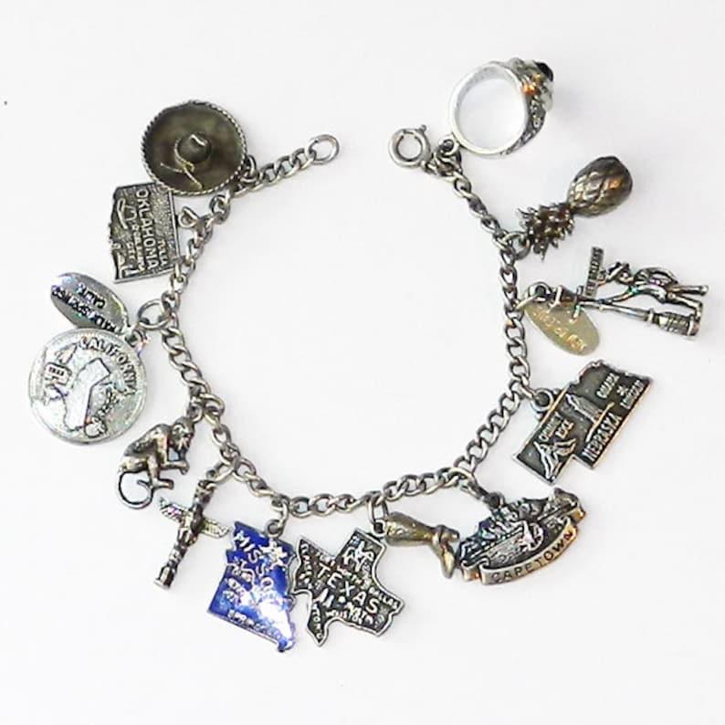 Vintage 1950 s Sterling Silver Charm Bracelet  84a0c3f8d91