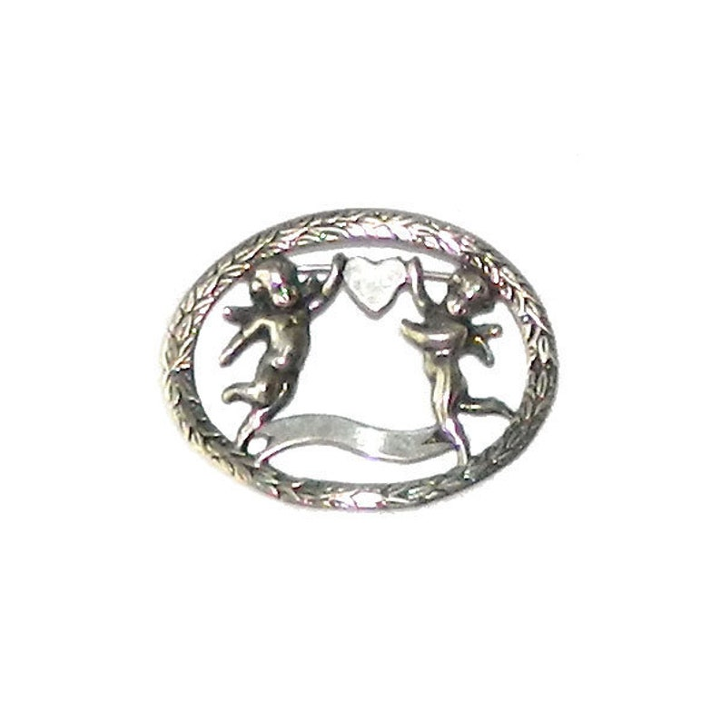 Antique Love Brooch Sterling Silver Cherubs and Heart