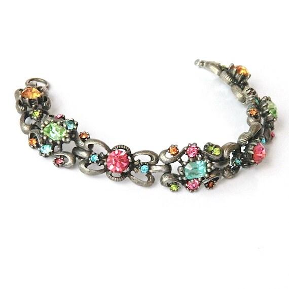 Vintage Multi Color Rhinestone Bracelet