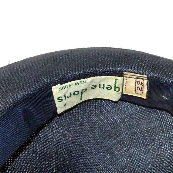 Vintage 1950s Navy Blue Straw Hat - image 7