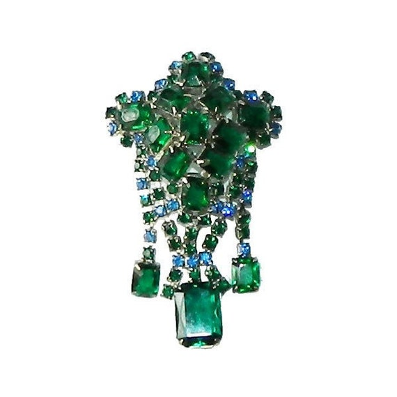 Vintage 1950's Green Rhinestone Dangle Brooch