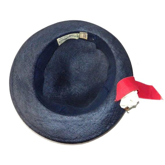 Vintage 1950s Navy Blue Straw Hat - image 4