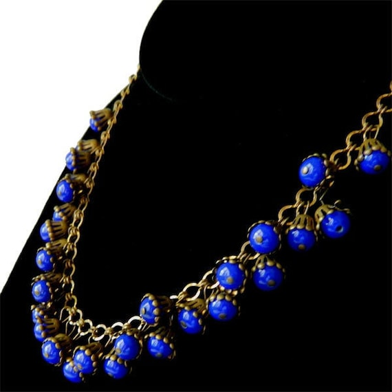 Vintage 1950s Miriam Haskell Beaded Necklace Cobal