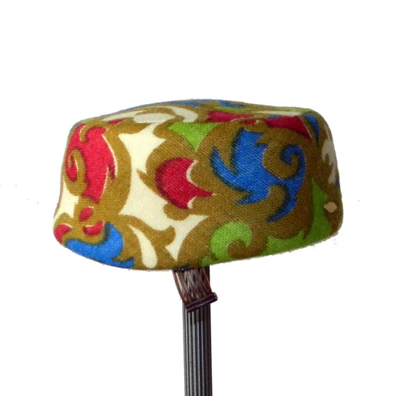Vintage 1960's Colorful Pill Box Hat
