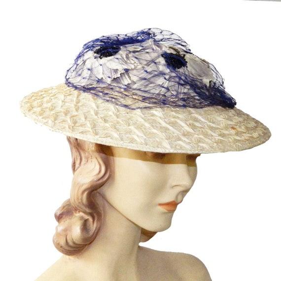 Vintage 1950s Straw Sun Hat