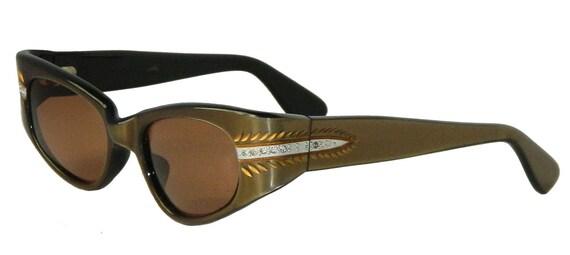 Vintage 1950s Rhinestone Cat Eye Eyeglasses Sungla