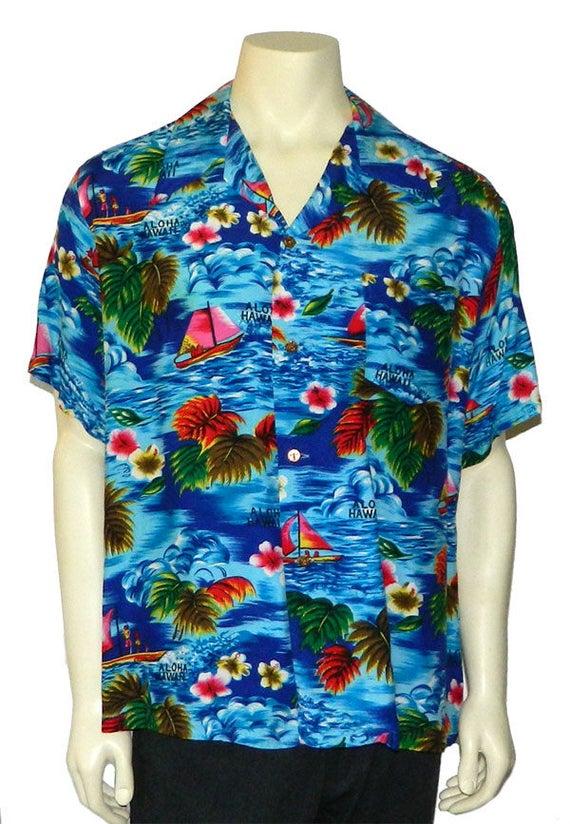 Vintage 1970s Rayon Mens Hawaiian Shirt XL