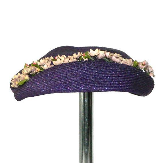Vintage Purple Straw Hat