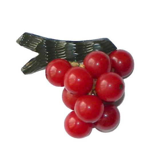 Vintage 1940's Bakelite Cherries Brooch