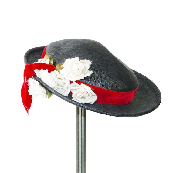 Vintage 1950s Navy Blue Straw Hat - image 5